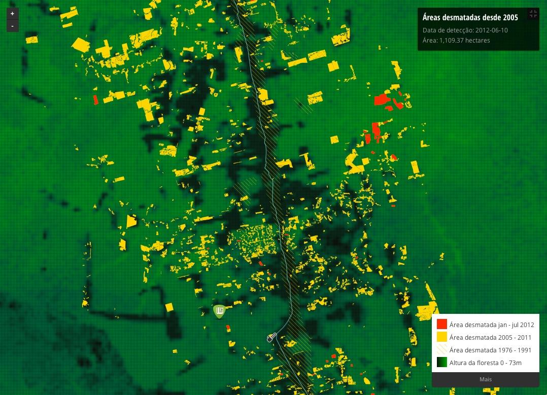 Imagem mostra desmatamento no entorno da BR 163, no Pará. Áreas em vermelho são dados mensais de alertas de desmatamento. Em amarelo, o acumulado histórico. Clique para ir a mapa interativo.